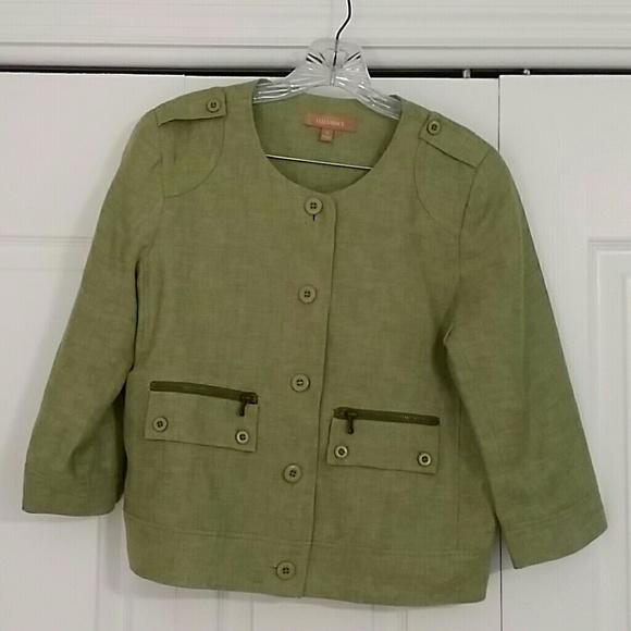 Ellen Tracy Jackets & Blazers - Linen Jacket with Zipper Details